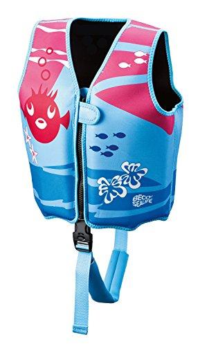 BECO 9639 Sealife Auftrieshilfe und Schwimmhilfe verstellbar mit 3 Auftriebskörper Schwimmlernweste, Mehrfarbig (blau/pink), M