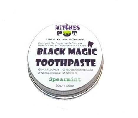 New Black Magic Teeth Whitening Polishing Toothpaste with Activated Charcoal Powder, Coconut Oil,Natural Minerals & Colloidal Silver by WitchesPot