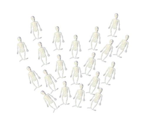 Mini Weiß Gummi Skelett 20er Packung Halloween Kostüm Zubehör ()