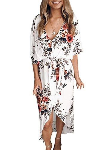 YOINS Femme Été Chic Robes Longues Imprimé Florale Longue Robe Élégante Long Dress Col V Robe De Soirée Épaules Nus,Blanc,EU 36-38(Small)
