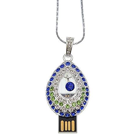 Datarm 64GB USB-Flash-Laufwerk Kristall Wassertropfen Halskette Kreativ USB Sticks (Blau+ Grün)