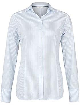 ETERNA Damen Bluse 1/1 Langarm Businessbluse aus 98% Baumwolle 2% Elasthan Hellblau Gestreift