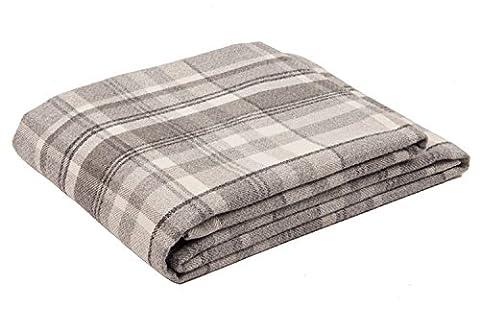McAlister Textiles Heritage   Long Soft Wool Feel Tartan Check Tweed Dark Charcoal Grey & White Throw Bed Spread Sofa Runner   130 x