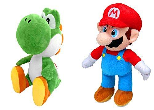 Super Mario (30cm) und Yoshi (27cm) Plüsch, Stofftiere, Original Nintendo, 2er-Pack