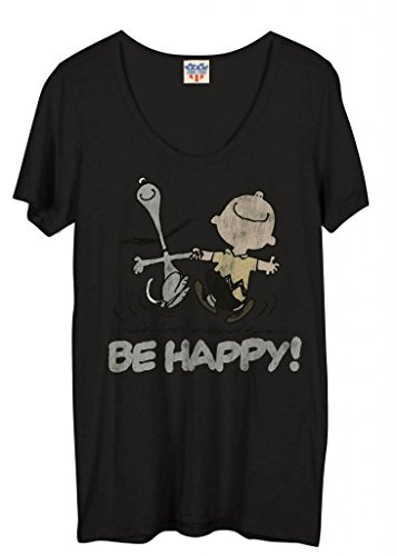 Junk Food Peanuts Be Happy Juniors Blackwash T-Shirt (Large) (Junior Food Shirt-junk)