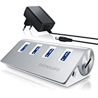 Primewire – Attivo 3.0 USB Hub a 4 Porte | Incluso Alimentatore | 4 Port Hub (distributore) | per Notebook/Netbook/Computer Portatile/ultrabook/Tablet PC/iMac, MacBook