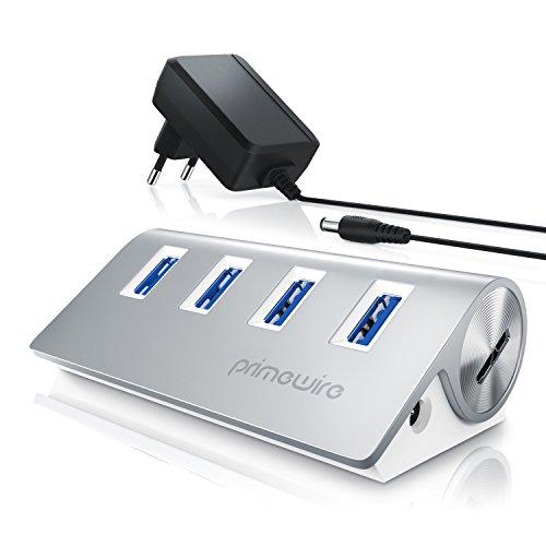 Primewire - Actif 4 Port USB 3.0 Hub avec bloc d'alimentation à fiche coaxiale | Concentrateur à 4 ports (distributeur) | pour PC / Notebook / Ordinateur Portable / Tablet / iMac, Macbook | jusqu'à 5 Gbits/s | Plug & Play | alimenté par bus | Windows, Linux et Mac | argent
