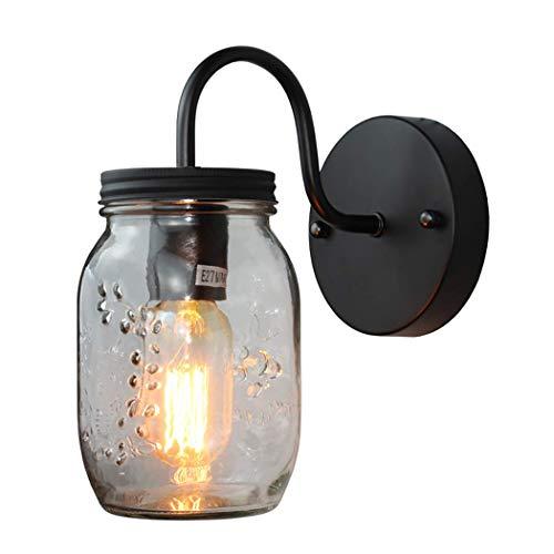 XGGYO Wandleuchte, Glas Einmachglas Lichter Innenbeleuchtung Wandleuchte für Außenwand Laterne E27 - Schwarz Finish, Outdoor-wandleuchte