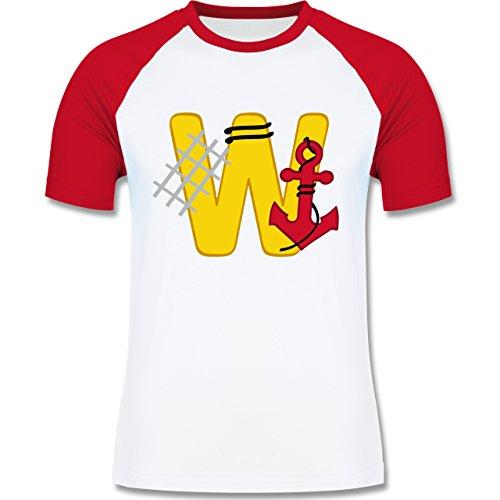 Anfangsbuchstaben - W Schifffahrt - zweifarbiges Baseballshirt für Männer Weiß/Rot