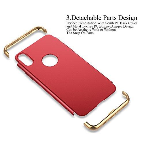 Cover iPhone X Custodia in Placcatura Difficile Hard Plastica PC Case Ultra Sottile 3 in 1 Design Protezione Caso di Lusso Anti Graffio Antiurto Shockproof Protettiva Paraurti Bumper Shell Copertura E Rosso