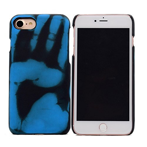 iPhone 7 Hülle,Thermal Induction Discoloration Hülle,VENTER® Hard PC Exclusive Magical Design Heat Sensitive Cover Matte Protection Snap On Protective Hülle für Samsung iPhone 7 Blue