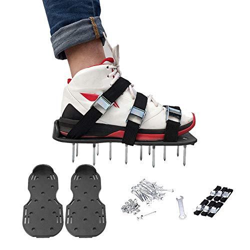 Sinbide Rasenlüfter Schuhe Rasen Belüfter Belüftungs Schuhe Rasen Belüfter Schuhe Rasen Sandalen Vertikutierer Spike Schuhe Universal Größe Spikes Sandalen 3 Riemen Nagelschuhe für Rasen oder Hof