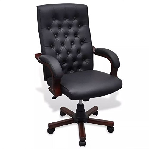 SENLUOWX Bürostuhl Chesterfield Kunstleder schwarz Material: Struktur aus Holz + Bezug in Kunstleder Bürostuhl