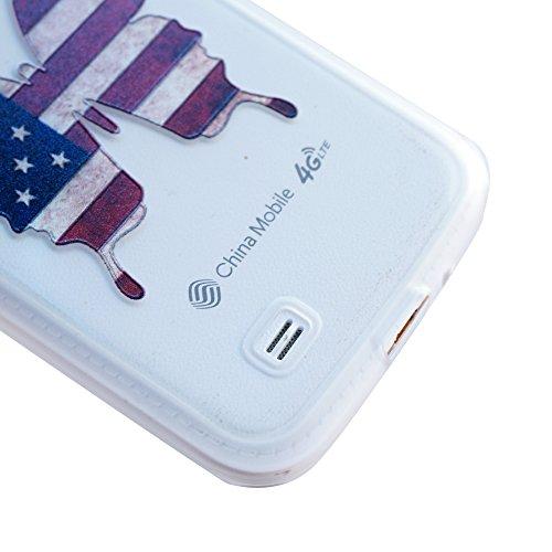 iPhone SE/5S/5 Hülle (Mit Frei HD Displayschutz) Transparent Weiche Silikon Schutzhülle,Weicher Flexibel Klar Gel Silikon TPU Hülle Superdünn Stoßfest Tasche Telefon-Kasten Schutz Tasche Schutzhülle D Amerikanische Flagge