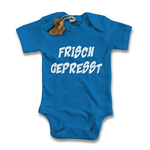 net-shirts Organic Baby Body mit Frisch Gepresst Aufdruck Spruch lustig Strampler Babybekleidung aus Bio-Baumwolle mit Zertifikat, Größe 0-3 Monate, royalblau