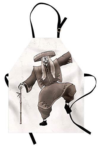ABAKUHAUS Kabuki-Maske Kochschürze, Orientalischer Art-Künstler mit Make-up und Kostüm werfen Tanz-alte Grafik auf, Farbfest Höhenverstellbar Waschbar Klarer Digitaldruck, Weiß Umbrabraun (Make-up Frau Kostüm Alte)
