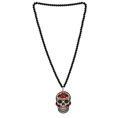 trina Totenkopfanhänger Halskette Sugar Skull Collier Dia de los Muertos Halloween Amulett Tag der Toten Schmuck Mexikanisches Totenfest ()