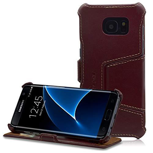 Manna Lederhülle Tasche Handyhülle, kompatibel mit Samsung Galaxy S7 Edge, Nappaleder Case Cover, Etui Standfunktion, Leder