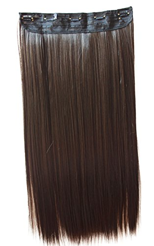 Prettyshop xxl 5 clips one piece di clip in extension parrucche dei capelli lisci a pelo lungo 60 cm brunette # 10 c70