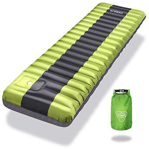 ENKEEO Esterilla Inflable, Ultraligero Cama Inflable Colchón de Aire Sleeping Pad al Aire Libre para Cámping Portátil para Viajes/Exterior/Senderismo/Playa (Verde)