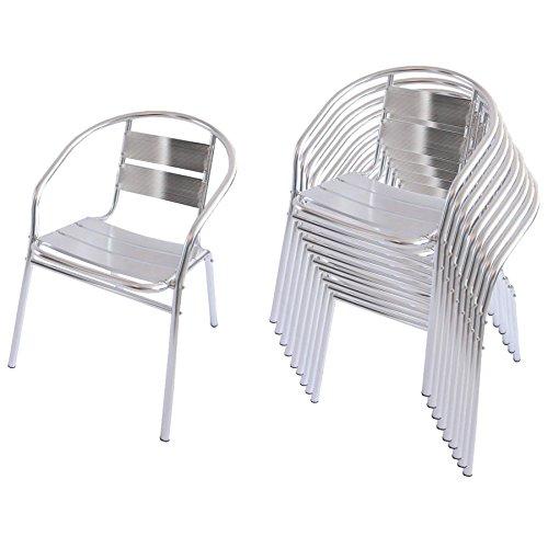 Set 10x sedie bistro bar giardino m64 in alluminio for Sedie in alluminio