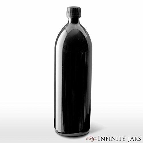Infinity Einmachgläser 1Liter (34Fl Oz) rund UV-Große Glas Wasser Flasche schwarz Lip-cocktail-set