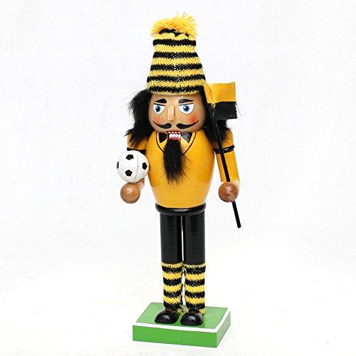 Dekohelden24 Nussknacker als Fussballfan mit schwarz/gelbem Outfit, ca. 26 cm