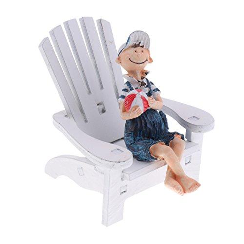 Homyl Micro Landschft Miniatur Nädchen Liegestuhl Holz Puppenhaus Zubehör Haus Deko - #1