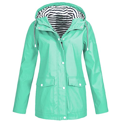 CUTUDE Coats for Women Autumn Winter Ladies Solid Rain Jacket Outdoor Plus Waterproof Hooded Raincoat Windproof