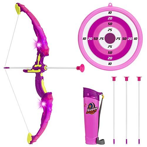 LVPY Pfeil und Bogen Kinder Set, Pfeil Bogen Kinder Set 3 Pfeile mit Bogenschießen and LED-Licht Ziel für Junges Mädchen ab 6 Jahre