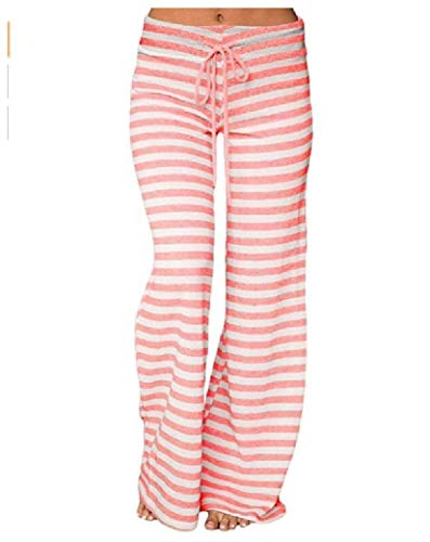 CuteRose Womens Drawstring Stripe Printing Wide-Leg Palazzo Lounge Pants 4 M Soft-petite Womens Drawstring Pant