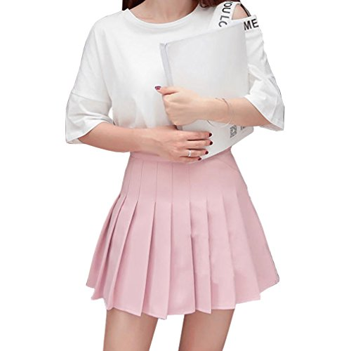 en kurze hohe Taille gefaltete Skater Tennis Schule Rock (Halloween-kostüm Für Mädchen Scout)