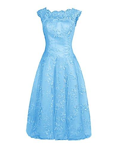 Find Dress Femme Elégant Robe de Soirée/Cérémonie/Cocktail Mariage Courte en Dentelle Bleu