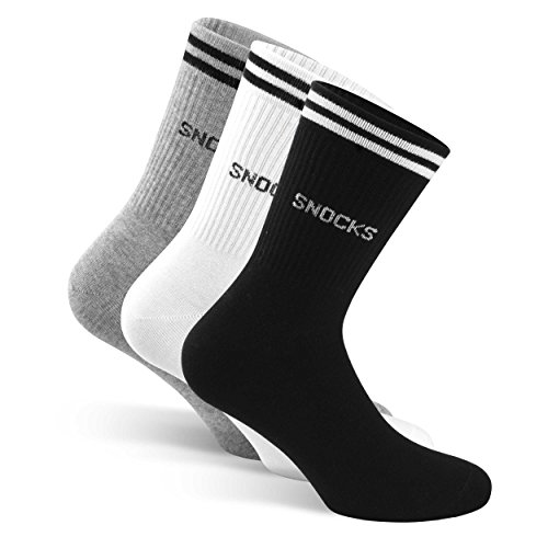 SNOCKS Women & Men Retro Crew Socks (4 Pairs) Size 3-14 (Black, White, Grey) - Cotton
