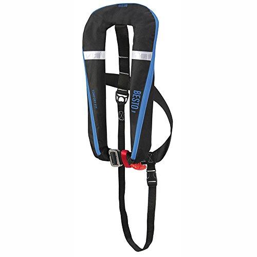 Besto 1 Stück Automatik Rettungsweste Comfort Fit 165N schwarz/blau mit Lifebelt