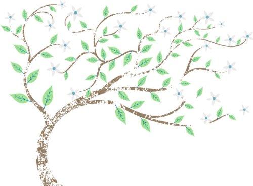 T-Shirt E525 Schönes T-Shirt mit farbigem Brustaufdruck - Logo / Grafik - abstraktes Design - schöner Baum mit Blüten Weiß