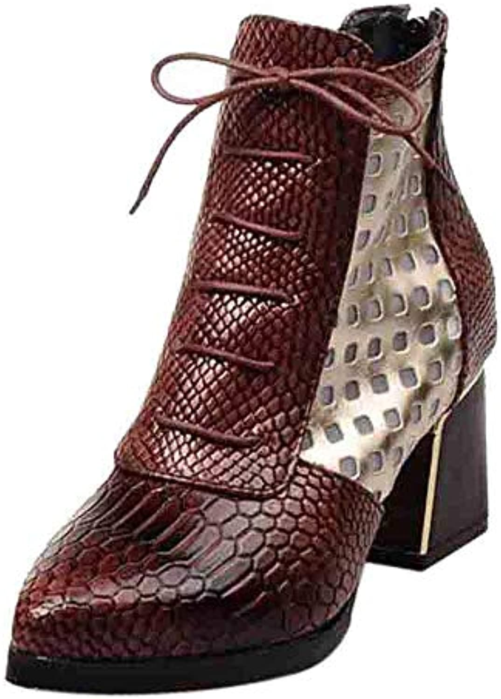 ZHRUI Stivali Scarpe da Donna Stivali Moda Donna Donna Donna Pelle di Serpente Modello Zip Cintura Fibbia Spessa Stivaletti... | Eccezionale  2451b2