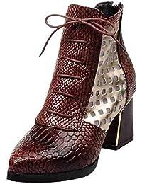 14328e00b324c ZHRUI Botas Zapatos para Mujer Botas Moda para Mujer Patrón de Piel de  Serpiente Dedo del