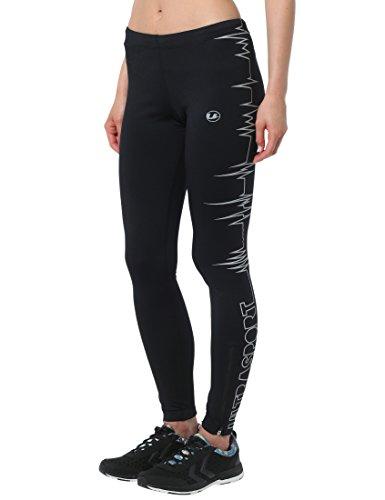 Ultrasport Damen Laufhose Ultra Visible Heartbeat, sicher und bequem, mit Reflektor-Vollprints, Schwarz, L