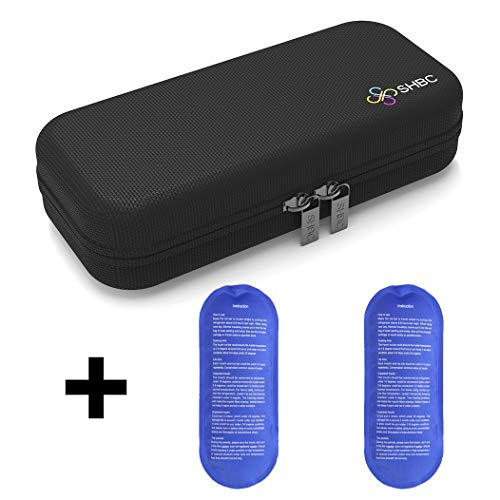 Bolsa de viaje isotérmica para insulina SHBC para Organización de la Medicación para Diabéticos Bolsa aislada para enfriamiento con paquetes de hielo negro