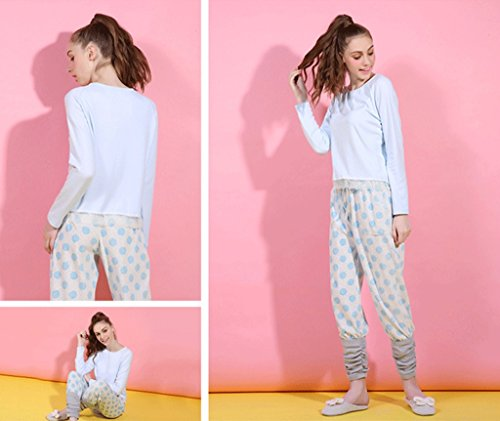 I modelli di autunno e inverno long sleeved splicing caldi pantaloni pantaloni abito di servizio di casa ( Colore : Blu , dimensioni : S. ) Blu
