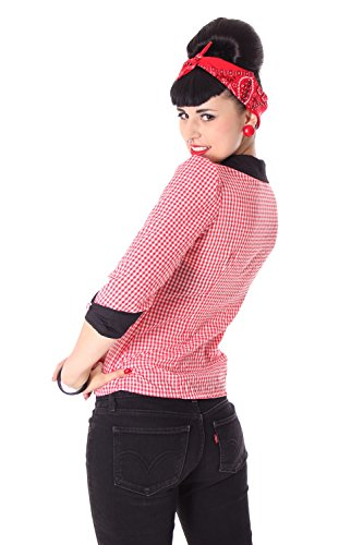 SugarShock Raquel Rockabilly 50er Pin Up retro Gingham 3/4 Arm Bluse kariert -
