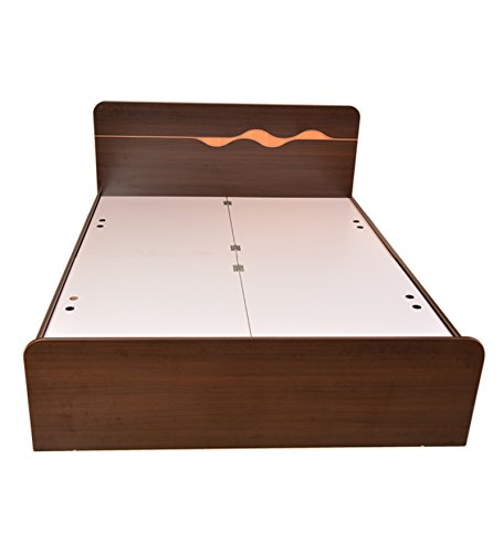 HomeTown Swirl King Bed with Box Storage (Matt Finish, Brown)