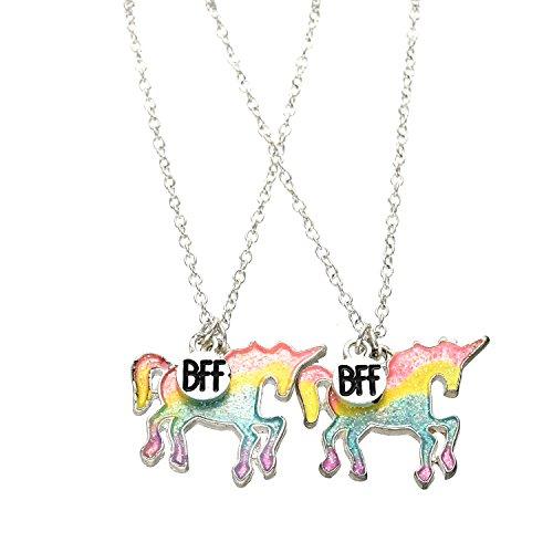 Plata Tono Resplandecer Unicornio BFF Novedad Collar colgante