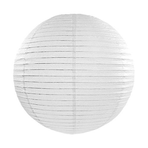 Simplydeko LAMPION Papierlaterne | Deko für Party, Garten und Hochzeit | Papierlampions (Weiß, 35 cm)