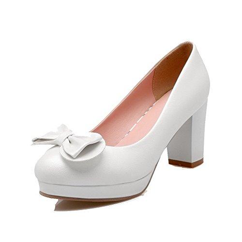 Rond Couleur Femme à Matière Légeres Talon Haut Souple Chaussures Blanc Unie AgooLar Tire gIzxqwfzTd