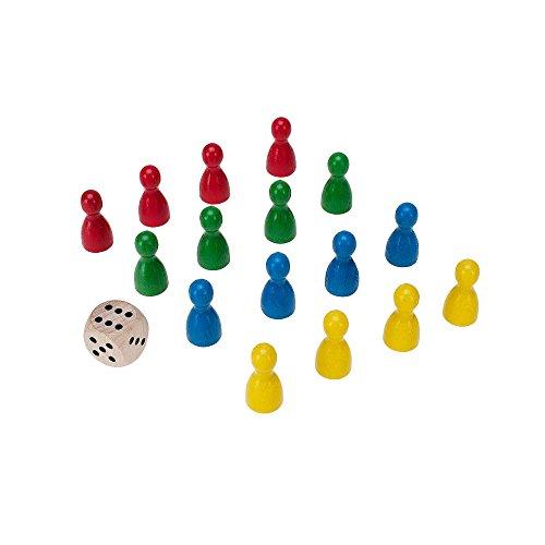 GICO Spielkegel 16 Stück aus Holz Halmakegel 24x12 mm und 1 Würfel mit Augen 16 mm aus Holz - Würfel In 12mm Gelb