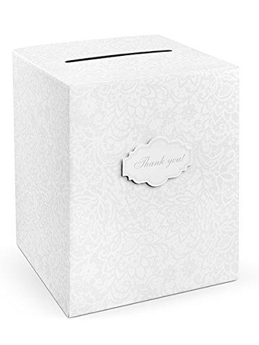 PartyDeco Umschläge, Bestickt, Weiß, 25 x 25 x 30 cm