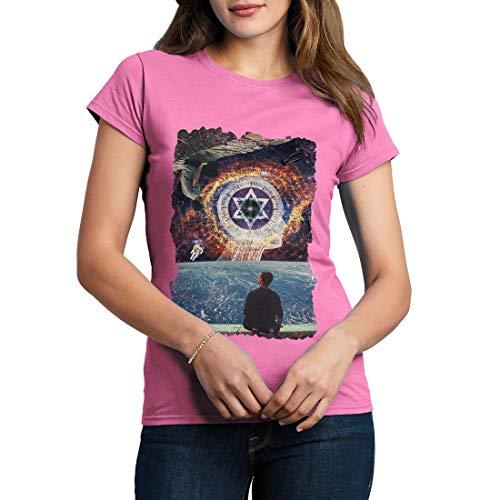A803WCNTA Damen T-Shirt Adam Kadmon Space Primordial Man Kabbalah Spiritual World God Illuminati Mind(Large,Azalea) Adams Azalea