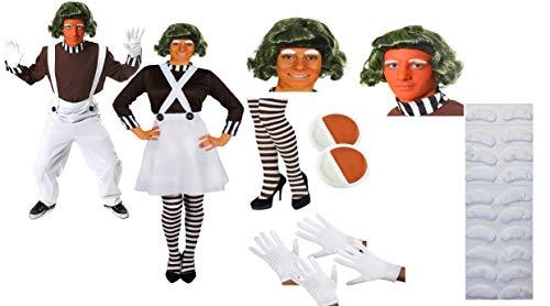 Kostüm Umpa Frauen Lumpa - ILOVEFANCYDRESS KLEINE Leute=UMPA Paar=VERZAUBERTES Land KOSTÜM VERKLEIDUNG MIT ZUBEHÖR =Fasching Karneval Halloween Weihnachten=Frauen-SMALL + MÄNNER-XXLarge